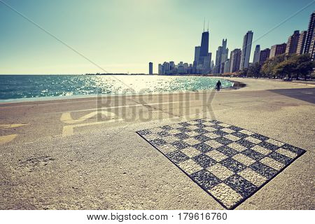 Outdoor Permanent Chess Board At Chicago Waterfront.