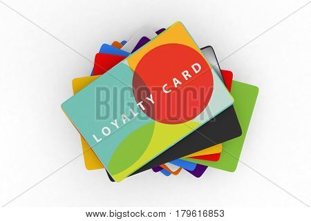 credit card loyalty scheme cards 3d render