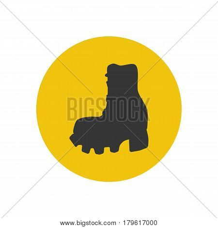 Hiking boots silhouette on the yellow background. Vector illustration