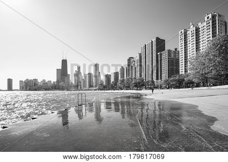 Black And White Picture Of Chicago Waterfront Skyline In The Morning.