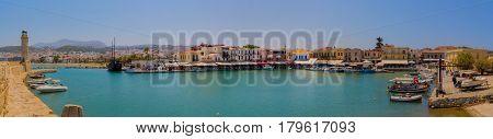 Rethymno, Greece - July  30, 2016: Venetian Harbour, Wide Panorama.