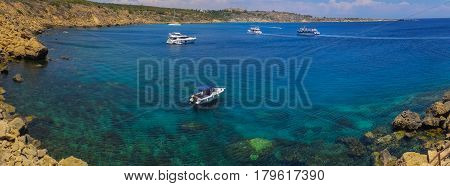 Cape Greco, Cyprus. June  20, 2015: Yachts In The Bay.