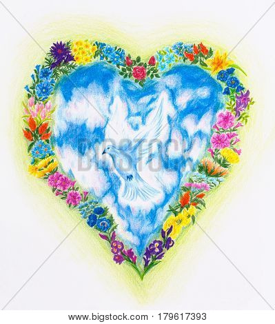 flying dove in the sky framed in heart shape with wild meadow flowers, color pencil drawing