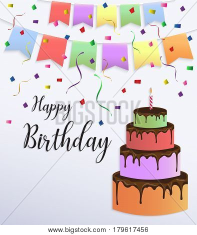 Happy Birthday card design with colorful big cake and bunting flag decoration.