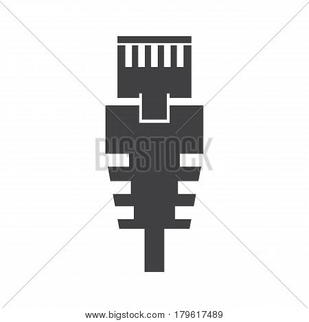 RJ 45 cable on the white background. Vector illustration