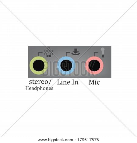 Sound input output on the white background. Vector illustration