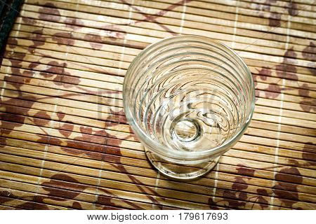 Nice Decorated Empty Glass On Wooden Bamboo Stand