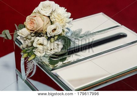 Luxury Wedding Gift Box With Roses And Expensive Golden Decor Arrangements At Wedding Ceremony. Gree