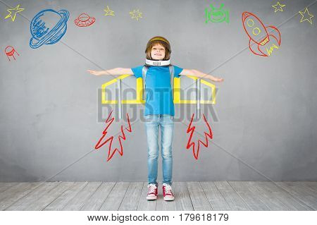 Kid Playing With Jet Pack At Home
