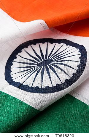 Closeup picture of indian flag made up of pure cotton or khadi, showing texture, selective focus