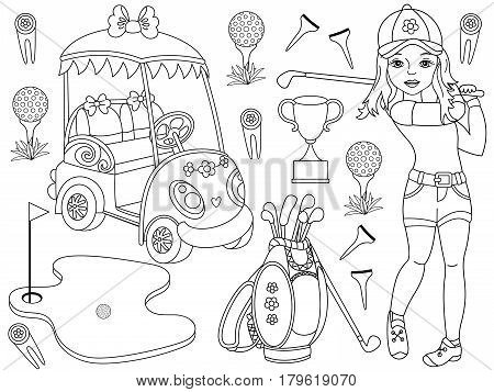 Vector black and white golf set with girl playing golf, golfer, golf club, golf bag, golf buggy and trophy