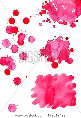 Watercolor bright pink spot texture background isolated set