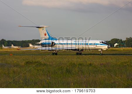 Tupolev Tu-134AK airplane is taking off for takeoff Rostov-on-Don Russia June 27 2011