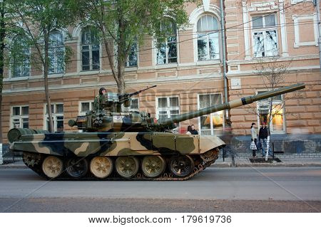 Tank T-90 Rostov-on-Don Russia April 28 2010 Preparing for Victory Parade