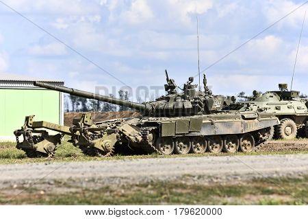 T-90 tank with mine trawl Kadamovskiy Russia September 9 2016. Forum