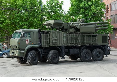 Anti-aircraft complex Pantsir Rostov-on-Don Russia May 9 2014. Reserve equipment for the Victory Parade.
