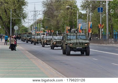 Column of technology Rostov-on-Don Russia May 9 2014. Return path after the parade.