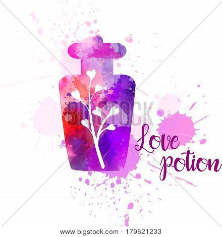 Watercolor imitation bottle with love potion. Concept for Valentine's day greeting card etc. Vector illustration.