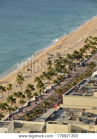fort Lauderdale Beach aerial view in the morning