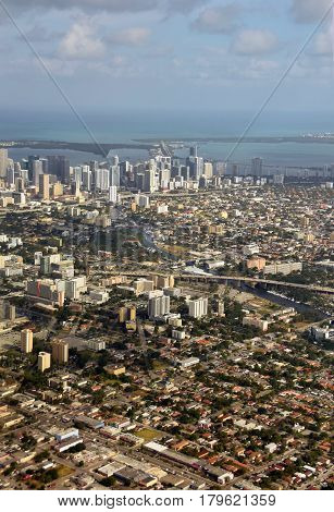 Miami Florida aerial view looking east from above