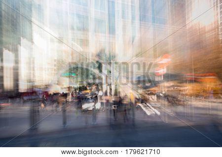London, UK - November 30, 2016:  Multiple exposure image of underground station entrance in Canary Wharf.