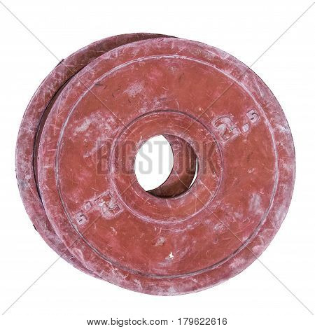 Two Isolated Grungy Red Gym Barbell Or Dumbbell Weights