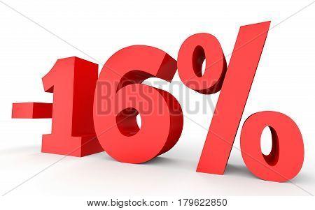 Minus Sixteen Percent. Discount 16 %.