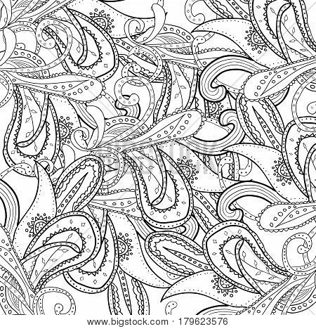 Coloring book page for adults. Mandala with vintage flowers pattern. Zendala. Zentagle. Can be used as website background, card, invitation. Black and white uncolored pattern.