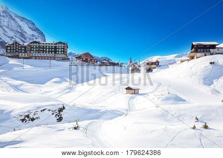 Swiss Ski Alpine Mountain Resort With Famous Eiger, Monch And Jungfrau Mountain