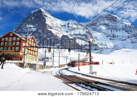 Swiss Ski Alpine Mountain Resort With Famous Eiger, Monch And Ju