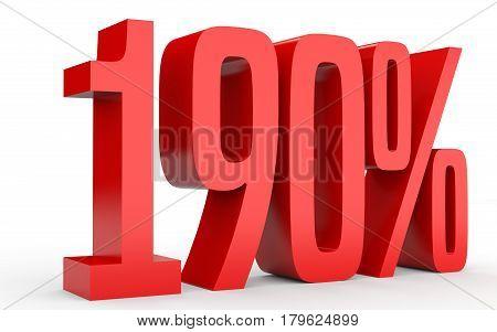 One Hundred And Ninety Percent. 190 %. 3D Illustration.