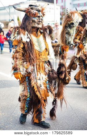 LUZERN SWITZERLAND - Feb 26 2017 - Traditional carnival parade of carnival masks in Luzern Switzerland.