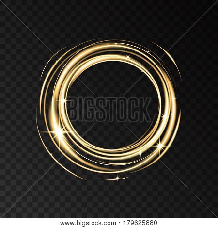 Gold Neon Circle Lights Effect With Sparkles.