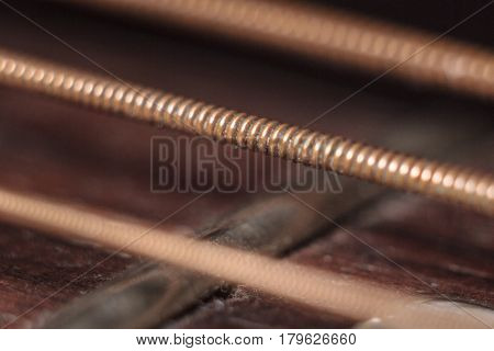 Close-up photo of acoustic guitar dirty strings