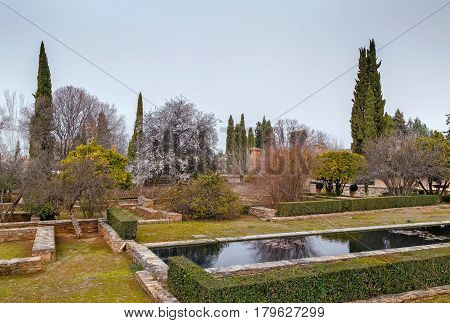 garden and pool in Alhambra Granada Spain