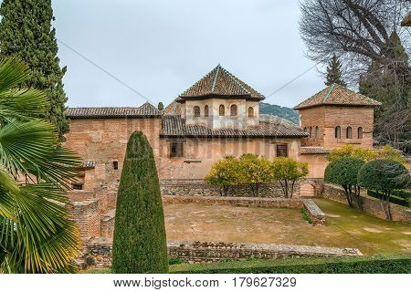 view of buildings of Royal complex in Alhambra Granada Spain