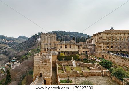 View of Alhambra palaces from Alcazaba fortress Spain