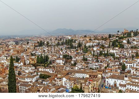 view of Granada city from Alcazaba fortress Spain