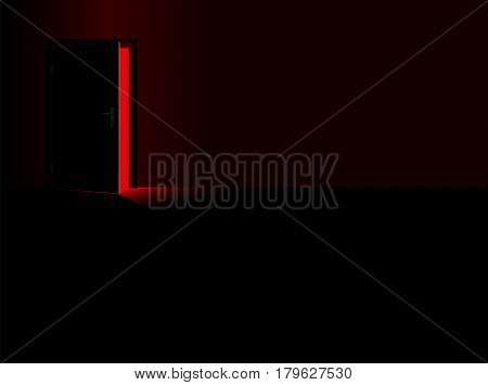 Darkness - black room and a half open door with a glimmer of red light coming in - as a symbol for thrill, danger, fear, courage or for taking a chance. Vector illustration.
