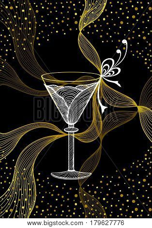 Beautiful abstract wineglass with lace flower bows confetti gold white  on black for decoration package or for wallpaper or  for advertising  Glassware or wine cocktail or for Congratulations