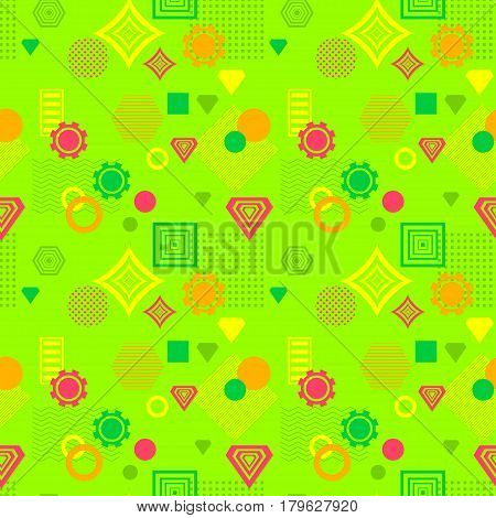 Abstract seamless pattern in postmodern Memphis Style green orange red yellow for wallpaper or package or for clothes or for creative design summer holiday