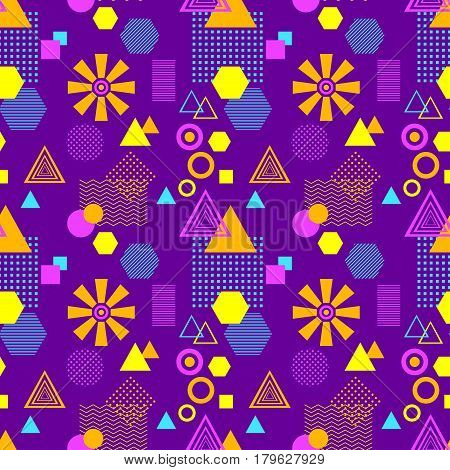 Abstract seamless pattern in postmodern Memphis Style lilac blue pink orange for wallpaper or package or for clothes or for creative design summer holiday