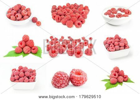 Set of raspberry fruit on a white background clipping path