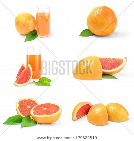Set of grapefruit on a white background cutout