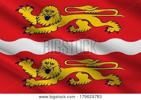 Flag of Seine-Maritime is a department of France in the Normandy region of northern France. 3d illustration