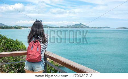 Girl Enjoying On A Seaside Viewpoint