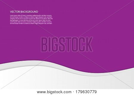 Vector modern simple wavy purple background with paper effect. Background with gray and white waves. Sample text.