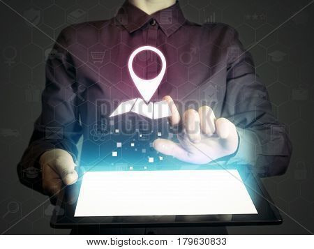 Image of a girl with tablet pc in her hands and location icon. Search of addresses and contacts of organizations location of objects guide.