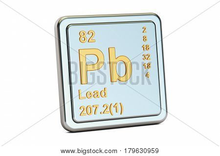 Lead plumbum Pb chemical element sign. 3D rendering isolated on white background