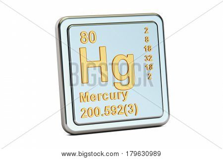 Mercury Hg chemical element sign. 3D rendering isolated on white background